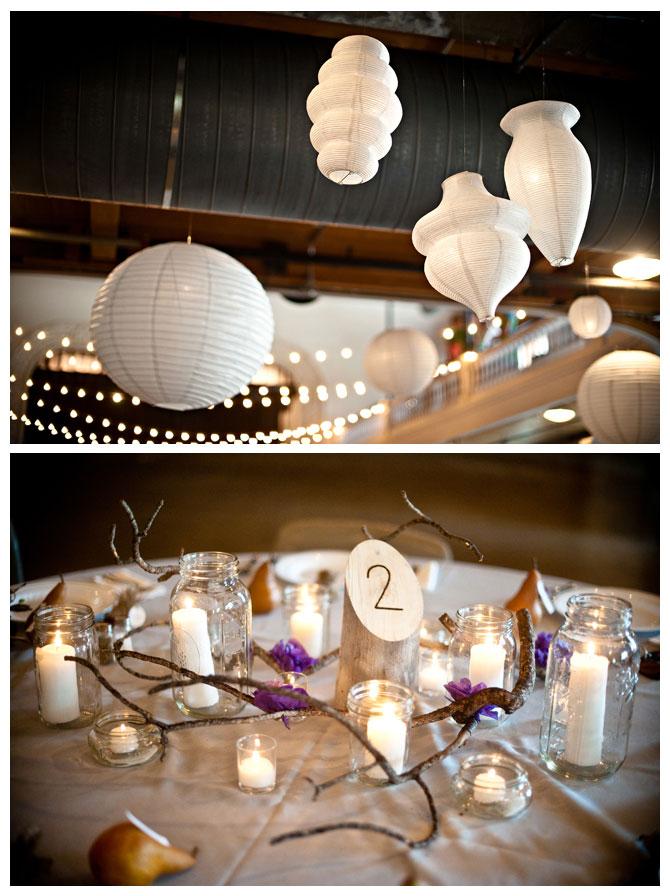 Lanterns and Mason Jars at a rustic mountain wedding