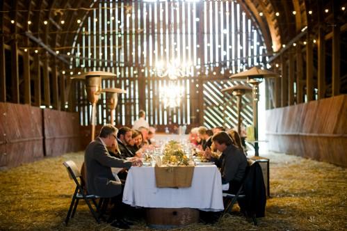 intimate wedding reception in a barn