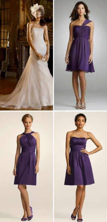 purple bridesmaids dresses from davids bridal