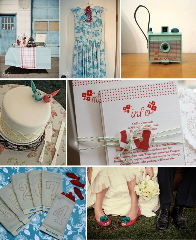 red and blue wedding inspiration board
