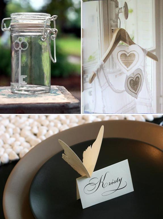 key heart and butterfly wedding details