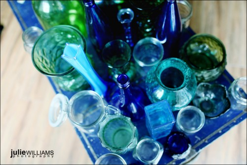 blue glass for wedding decorations