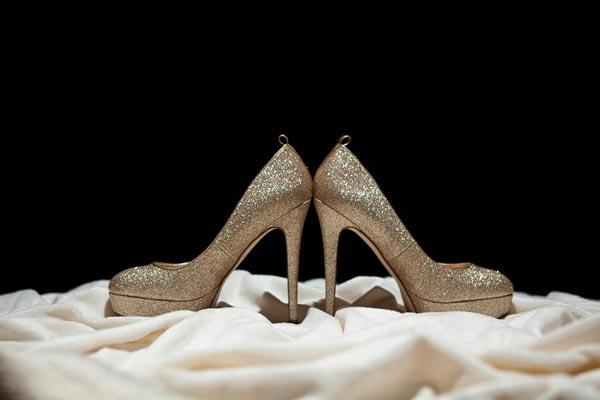 Glamorous gold wedding shoes