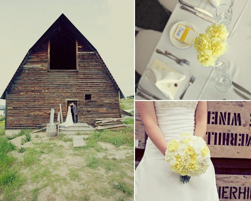 BC wedding with yellow carnations and a rustic barn