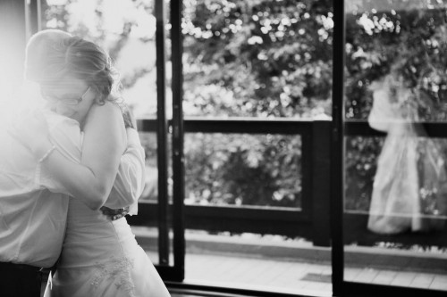 Black and white of bride and father at a BC wedding