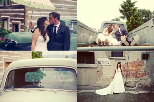 Trash the dress in a vintage Truck