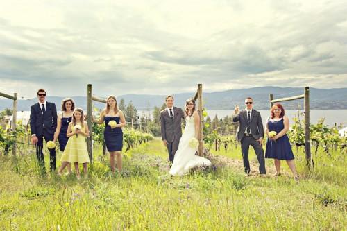 BC Wedding Bridal party portraits in a vineyard