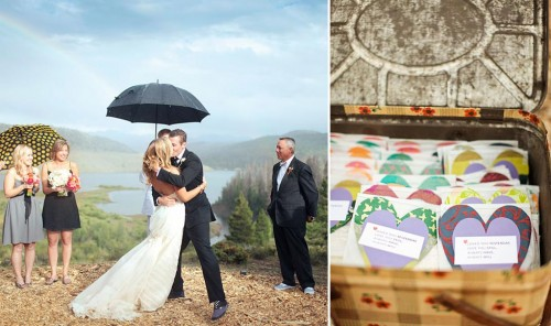 Rainy ranch wedding and heart shaped escort cards