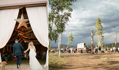 covered wagon at rustic western ranch wedding