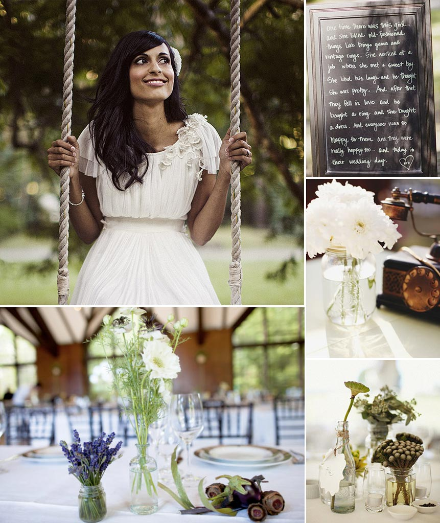 Fig and Olive inspiration board with a bride on a swing, chalkboard menu, and rustic table settings