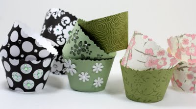 DIY cupcake wrappers made from scrapbooking paper