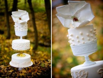 White wedding cake with dots made to look like milk glass