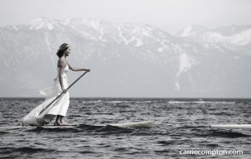 Mountain Bride on a paddle board in Lake Tahoe