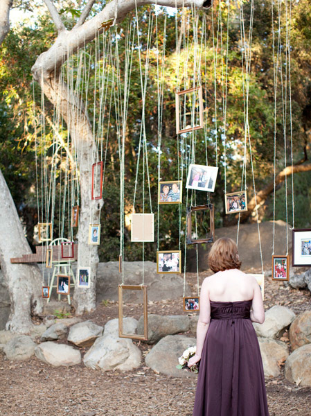 picture frames hung from string