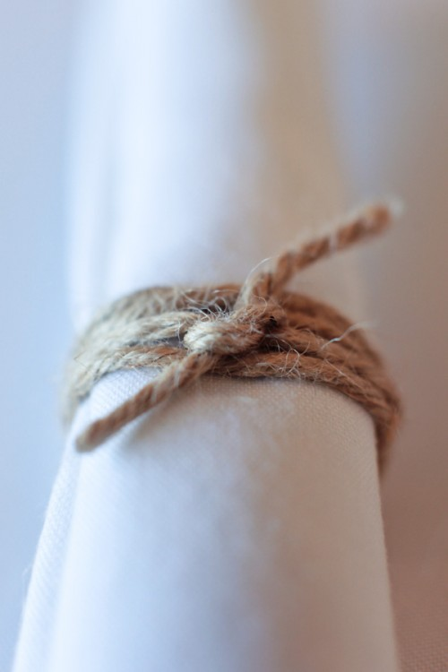 simple twine wrapped napkin