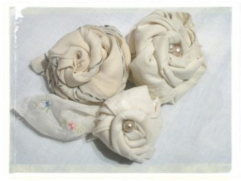 Hand rolled Handkerchiefs made to look like Roses
