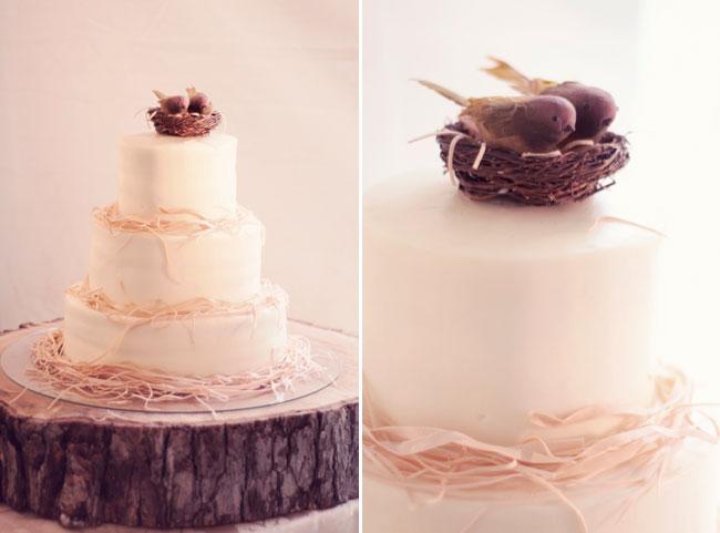 rustic cake with raffia ribbon