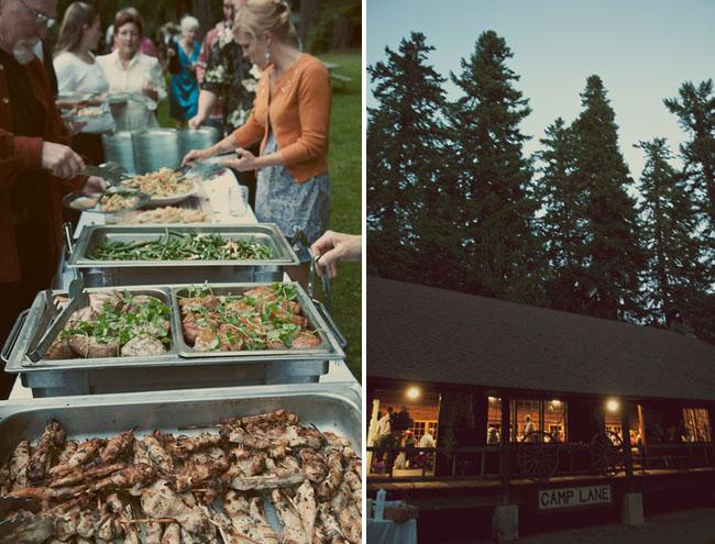 buffet at a camp wedding