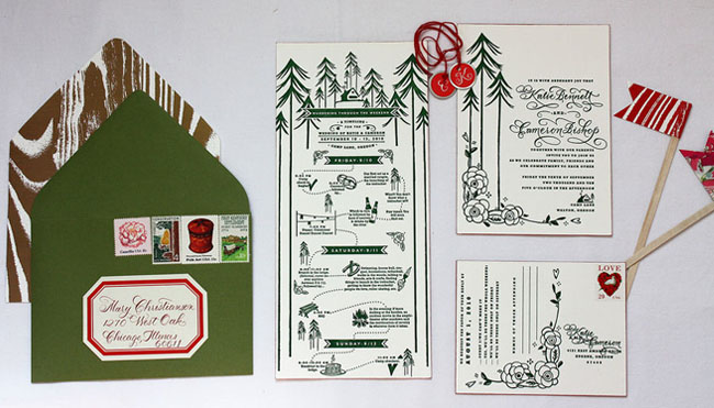 camp wedding invitations with a woodland envelope liner