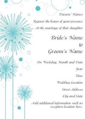 cheery blue flower wedding invitation