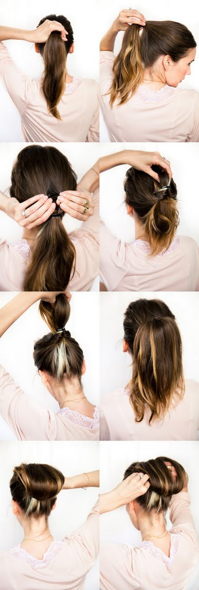 DIY tutorial for an elegant chestnut bun