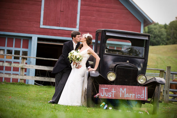 Adirondack Wedding with vintage car