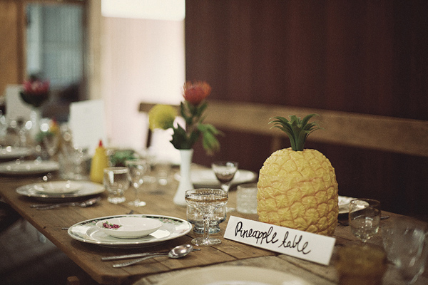 Kitschy pineapple centerpiece