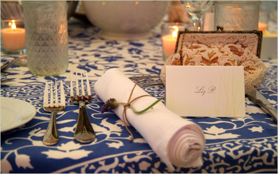 twine wrapped napkin and flower