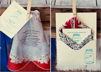 vinatge handkerchief wedding invitations with mason jars
