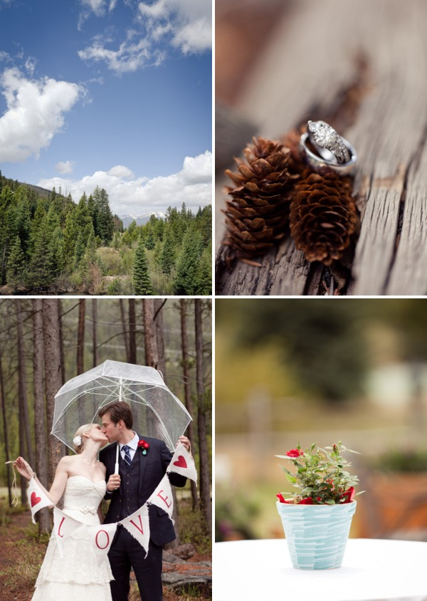 rainy wedding day flowers and rings