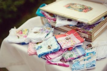 Handkerchiefs tied with twine for wedding guests