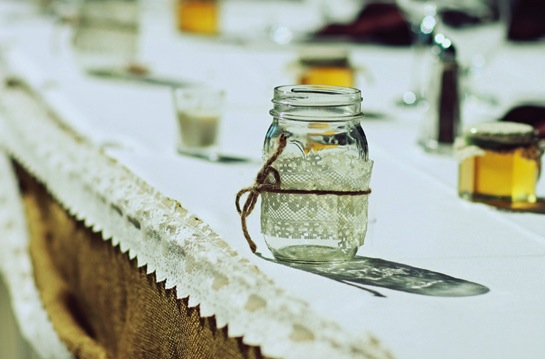 lace-wrapped mason jars