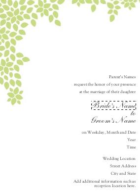 natural green leaf wedding invitation