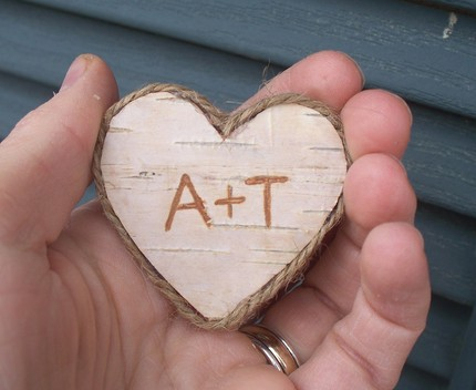 twine wrapped wooden heart