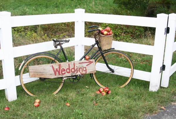 Adirondack Wedding with bicycle