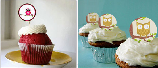 owl cupcake toppers
