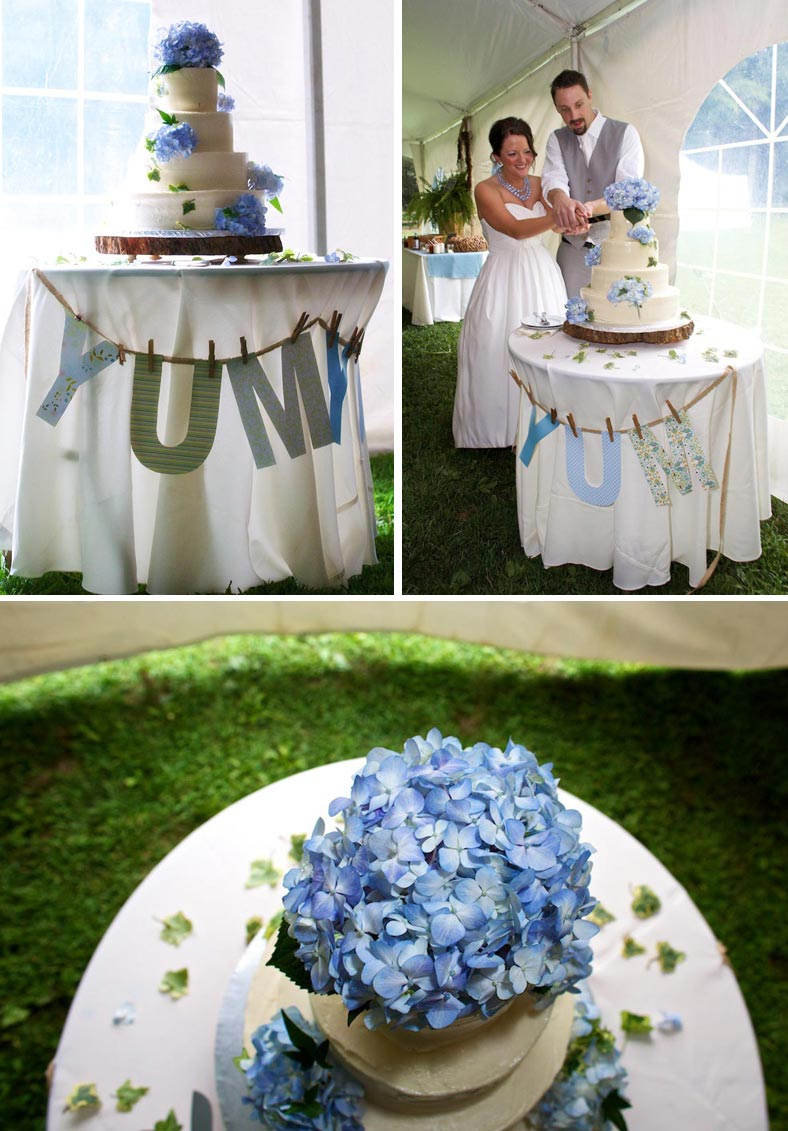 wedding cake topped with blue hydrangea