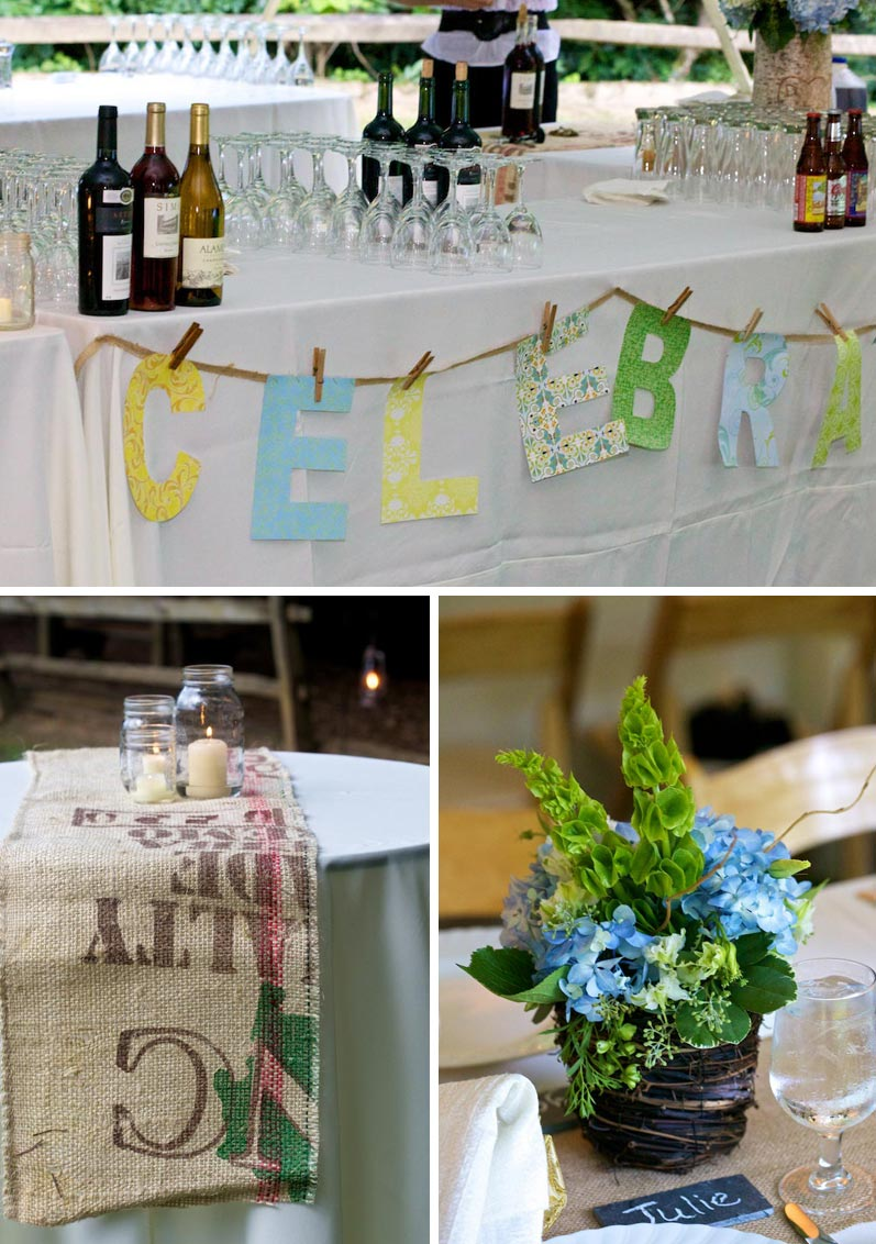 rustic wedding details, including a coffee burlap table runner