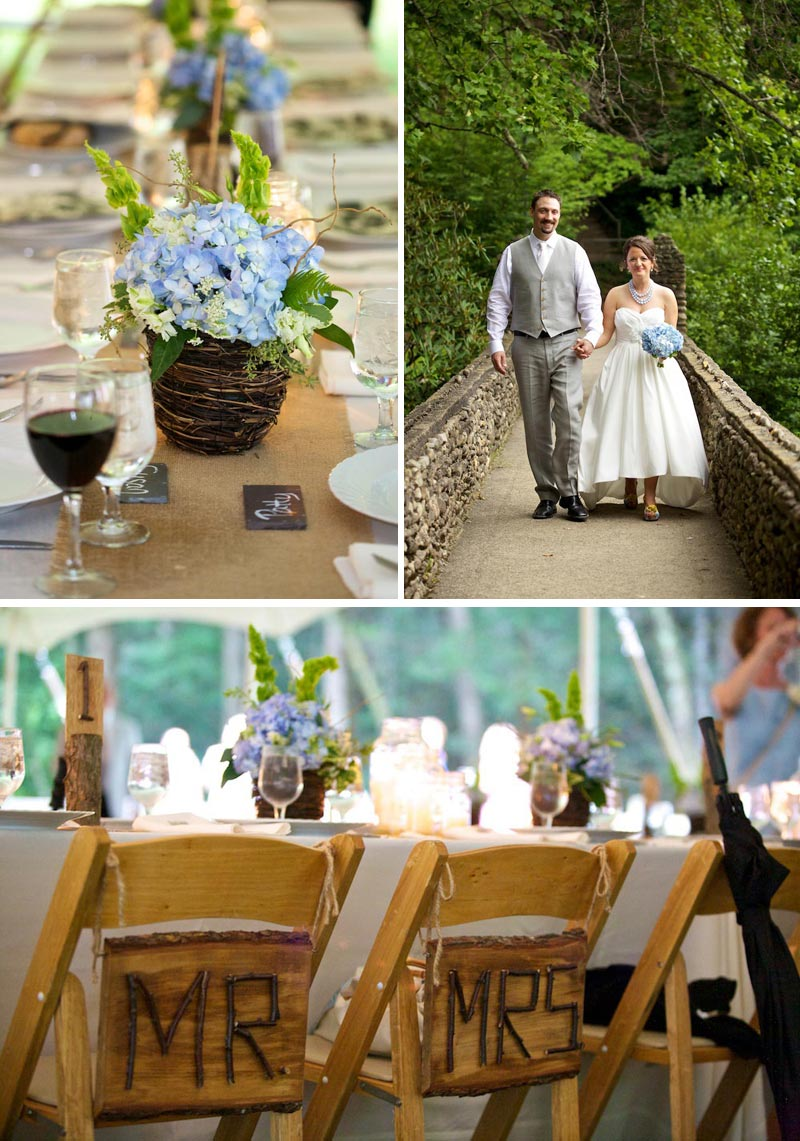 burlap table runners, blue hydrangea bouquet and wooden seating signs