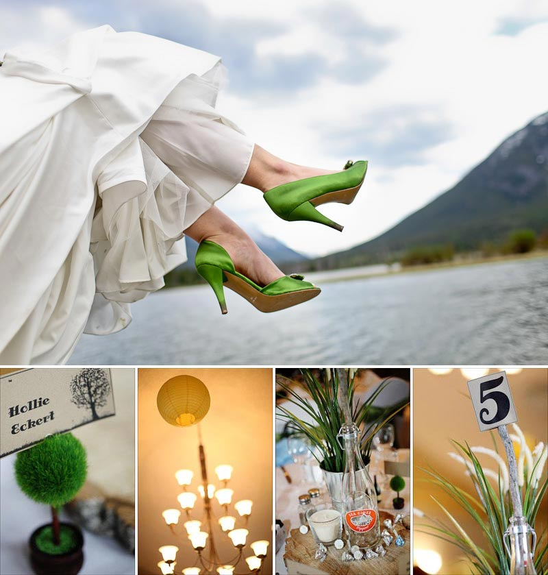 Green wedding shoes and Banff wedding Details