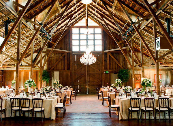 chandelier at a rustic barn wedding