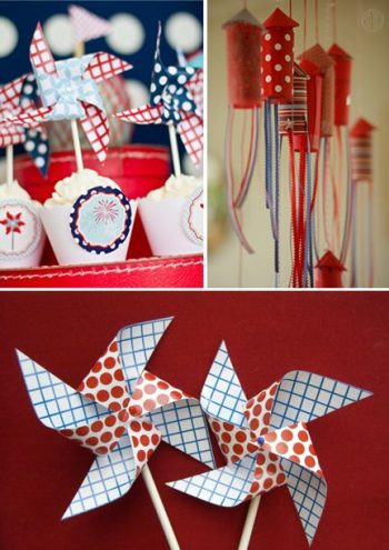 Pinwheels, poppers and cupcakes for fourth of july weddings