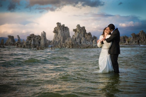 Bride and Groom rocking the dress in Mono Lake