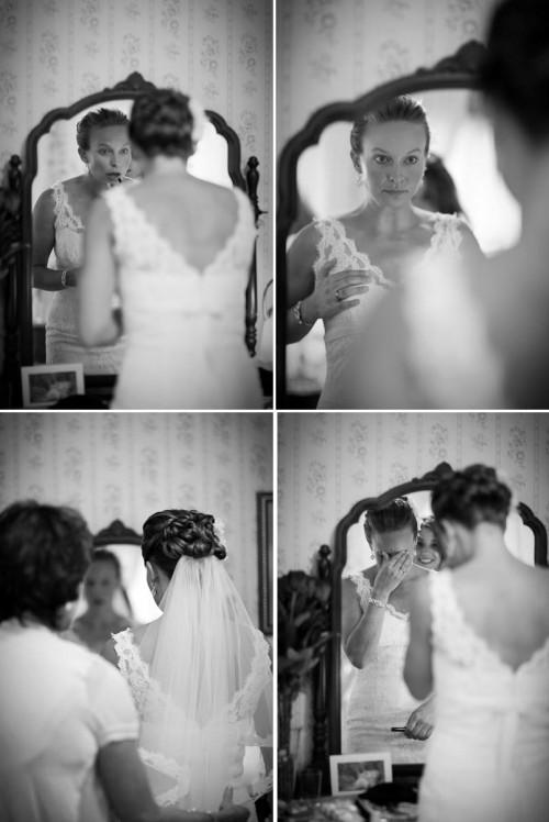 bride gets ready at Rainbow tarns near Mammoth Lakes