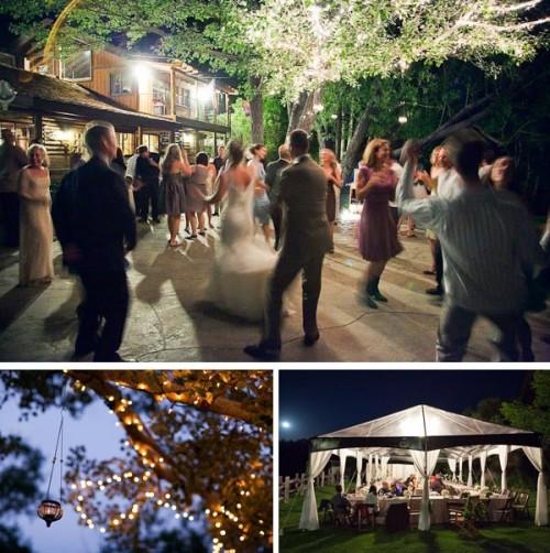 twinkle lights at night at rainbow tarns wedding