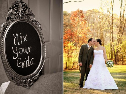 Grits Buffet and fall bride and groom