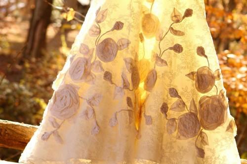 flower applique wedding dress