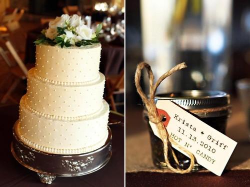southern wedding cake and jam favor