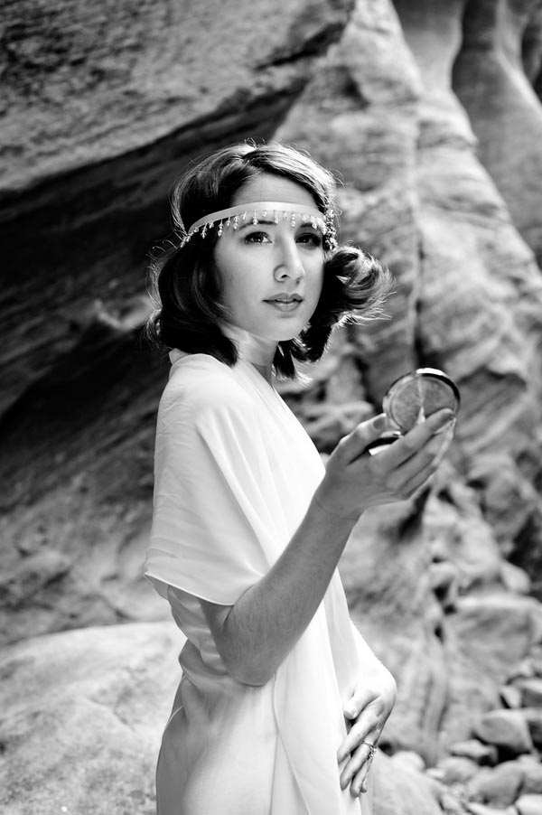 Black and white of Beautiful Bride in Zion National Park