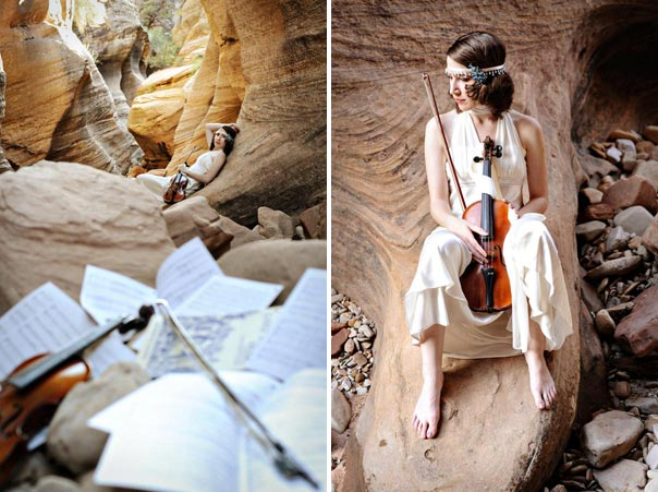 Bride plays the violin in Zion National Park